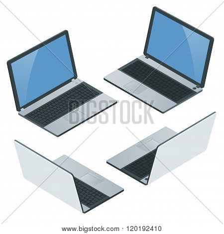 Laptop with blank screen isolated on white background. Laptop Icon. Realistic flat 3d isometric vect