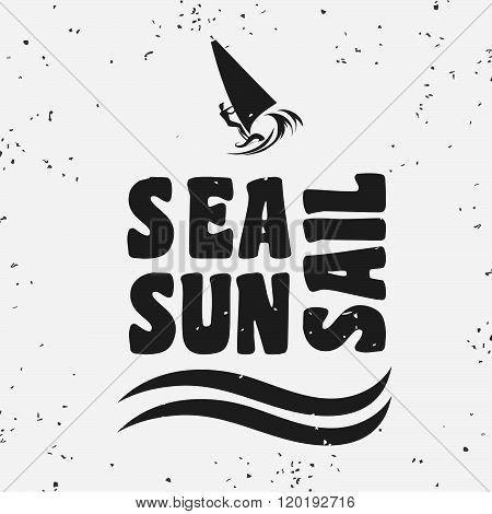 Creative vintage poster with windsurfing. Sea, sun, sail.