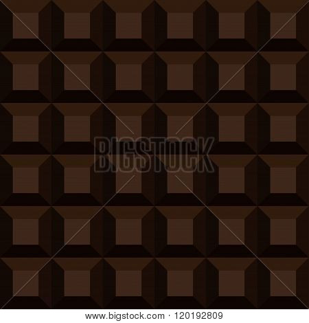 Seamless Background Dark Chocolate Pattern. Vector Bar Of Chocolate