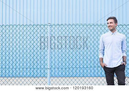 Man On Blue Background