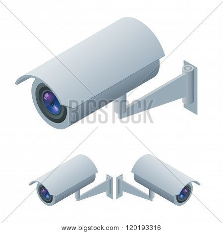 Video surveillance isometric Surveillance and CCTV camera icon. Video surveillance  3d illustration