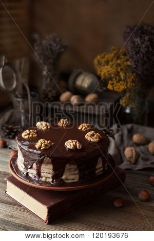Chocolate cake dark food mystery composition with book and walnuts
