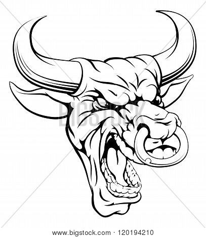 Bull Sports Mascot Head