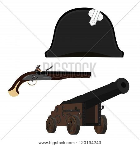 Hat, Canon And Musket