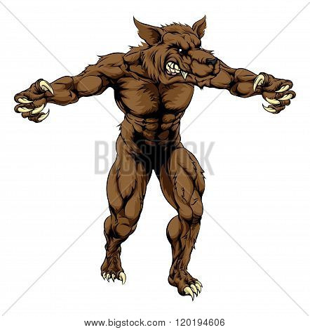 Werewolf Or Sports Wolf Mascot