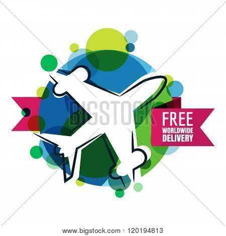 Free Worldwide Delivery Icon.