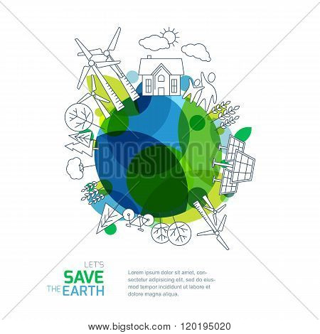 Environmental And Ecology Vector Illustration.