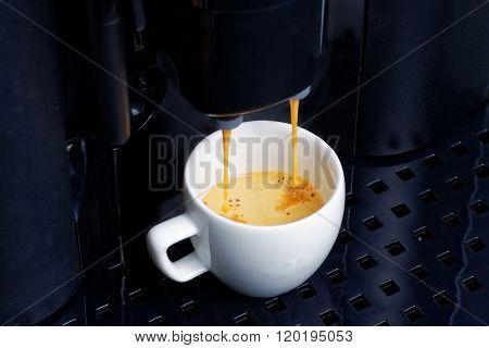 Espresso Preparation In Coffee Machine