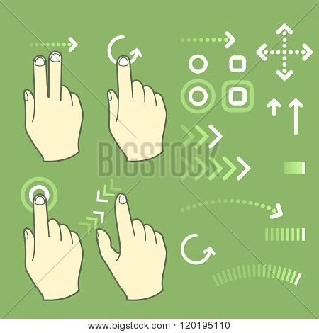 Touch Screen Gesture Hand Signs And Movement
