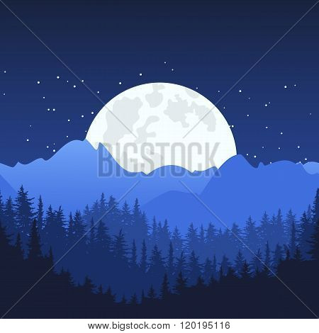 Night Mountain Landscape And Full Moon On The Sky.