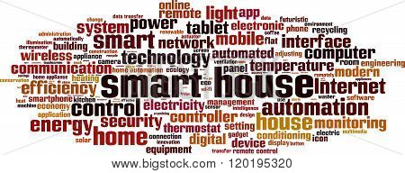 Smart house word cloud concept. Vector illustration