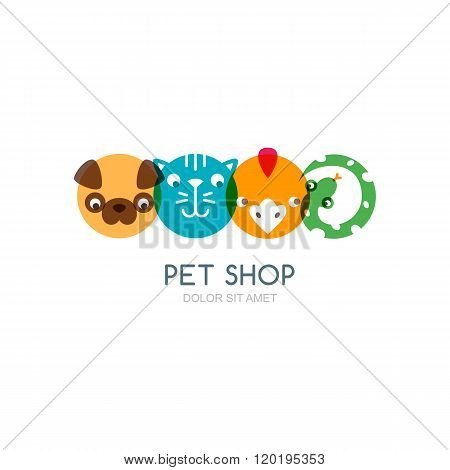 Colorful Flat Icons Of Dog Head, Cat Muzzle, Bird And Snake.