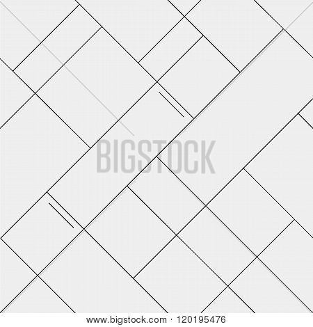 Seamless pattern diagonal polygonal rectangular lines, black and white