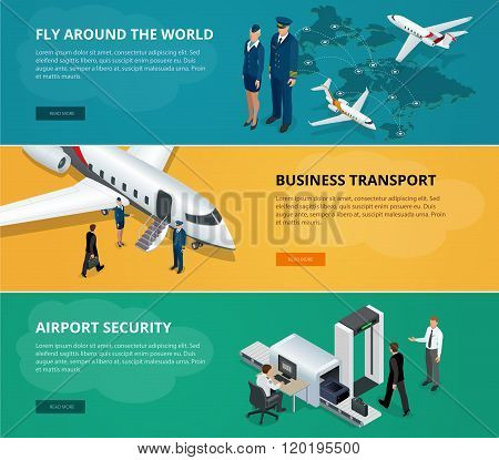 Airport web banner set. Concept of international private airline. Flying commercial and private pers