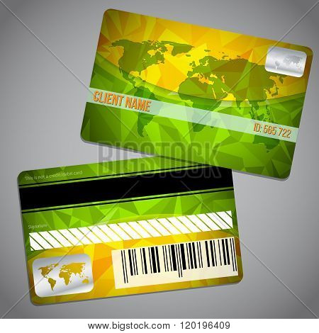 Loyalty Card With Map And Green Orange Background