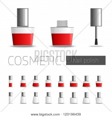 Realistic illustration of nail polish. Vector template package nail polish bottles of red. Template cosmetic accessories.