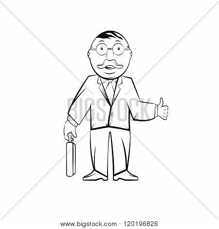 Businessman In Glasses With Case .professor In Glasses With Case