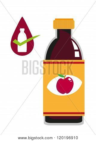 Apple Cider Vinegar Bottle Concept. Editable Clip Art.