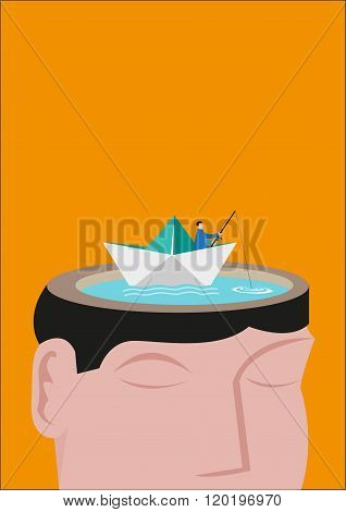 A Fisherman Riding a Paperboat Floats on a Head Made of a Lake. Editable Clip Art.