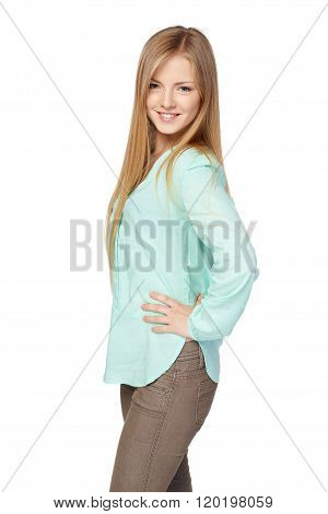Blond female in mint color shirt