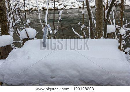 Frozen Faucet In Winter