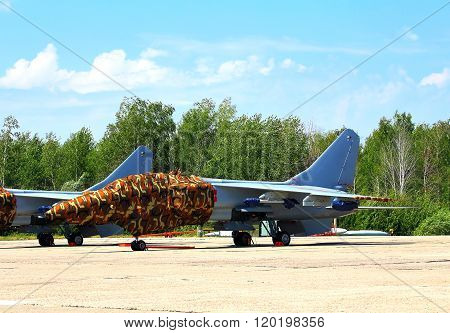 RYAZAN REGION  -  JULY 27: Chinese fighter jet parked at a military airbase  -  on July  27, 2015 in Ryazan region