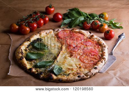 Pizza with tricolor Italian flag