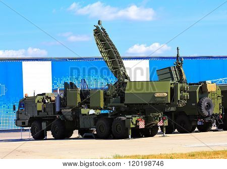 MOSCOW REGION - AUGUST 14: Havy trucks with antennas of the complex for passive location of air and maritime objects from the radiation of radio-electronic means (passive radar)   on August 14, 2014 in Moscow region