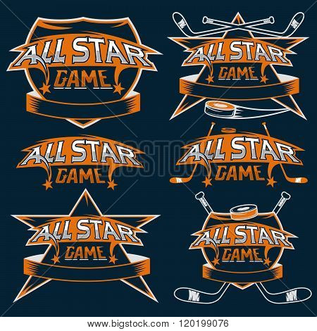 Set Of Vintage Sports All Star Crests With Hockey Theme