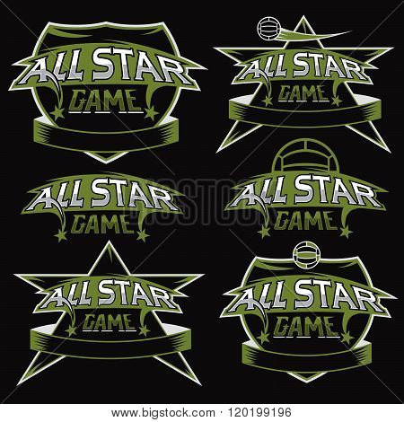 Set Of Vintage Sports All Star Crests With Soccer Theme