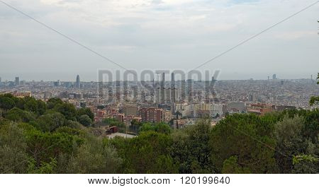 Panoramic View Of Barcelona From Park Guell, Catalonia, Spain.