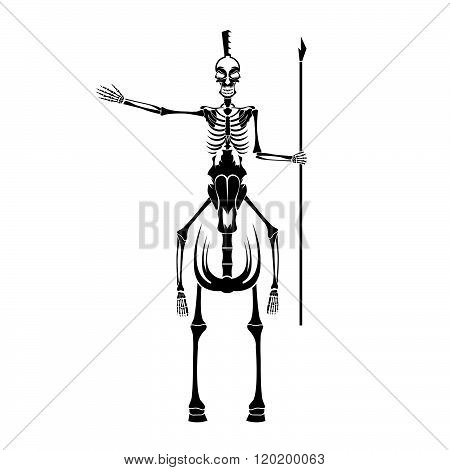 Skeleton In Spartan Helmet With Spear On The Horse