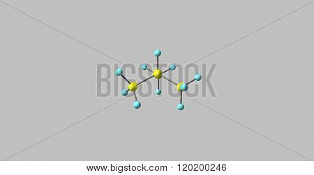Isobutane molecular structure isolated on grey