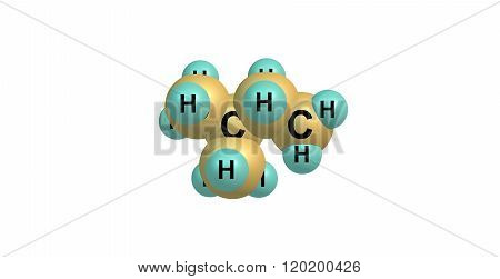 Isopentane molecular structure isolated on white