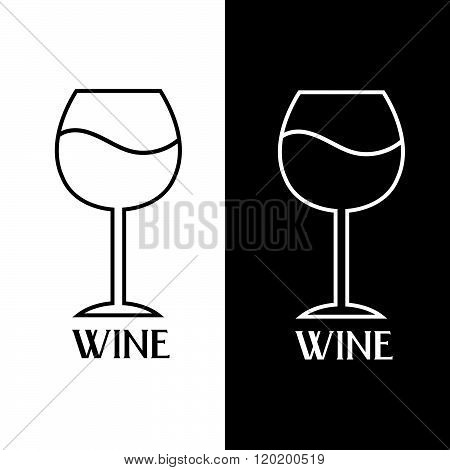Wine Glass Vector Design Template . Concept Of Graphic Clipart Work