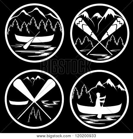 Canoe Camp Vintage Labels Set . Concept Of Graphic Clipart Work
