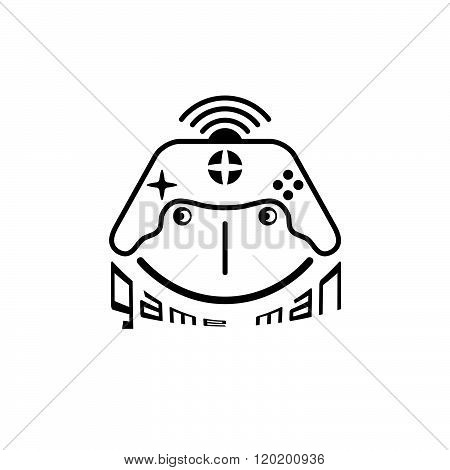 Game Man Concept With Game Pad Vector Design Template