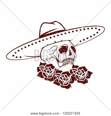 Day Of The Dead Skull With Flowers And Sombrero, Dia De Los Muertos