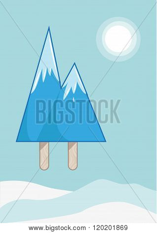 Mountain Peaks made of icy pop or ice block. Editable Clip Art.