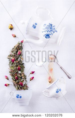 Magic party with roses herbal tea