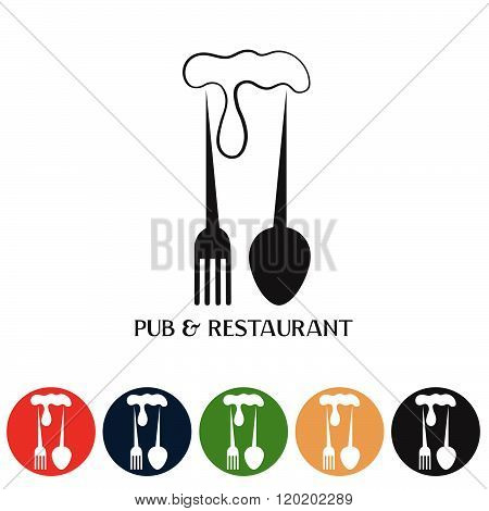 Restaurant And Pub Negative Space Concept And Web Icons