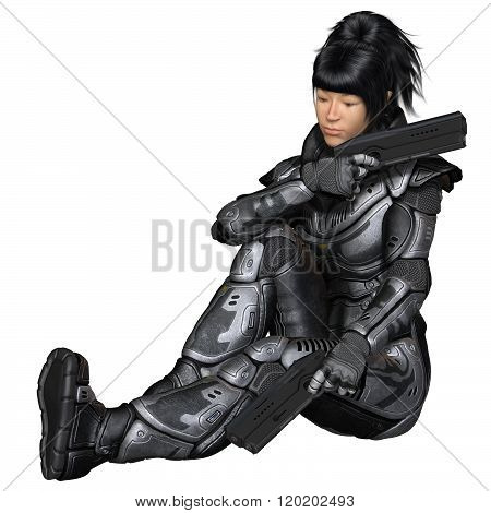 Future Soldier, Asian Female, Sitting
