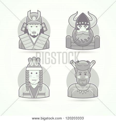 Japanese samurai warrior, viking, red indian man, native african aborigen. Set of character, avatar