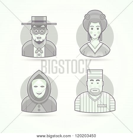 Anonymous, mask man, geisha, prisoner. Set of character, avatar and person vector illustrations. Fla
