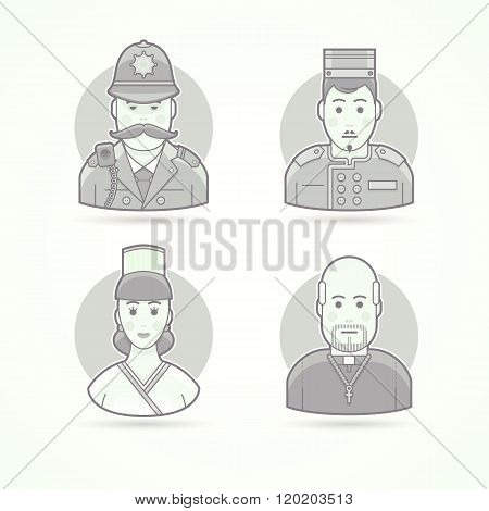 British policeman, hotel porter, cook woman, catholic priest. Set of character, avatar and person ve