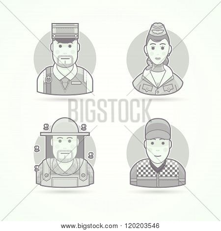 Postman, stewardess, air hostess, beekeeper, car racer. Set of character, avatar and person vector i