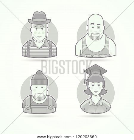 Pantomime performer, boxer, worker, graduate woman. Set of character, avatar and person vector illus