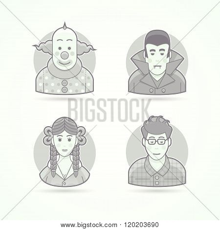 Circus clown, vampire outfit, schoolgirl look, nerd. Set of character, avatar and person vector illu