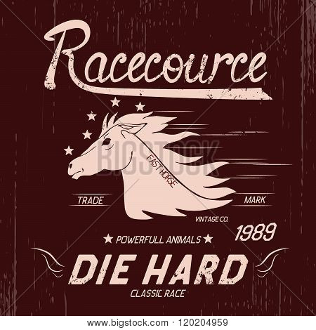 Vintage label with horse