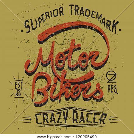 Vintage trademark with Motor Bikers text